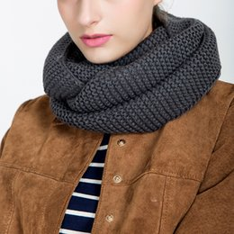 Discount wholesale solid cotton scarves - ZEBERY Autumn Winter Warm Knitting Woman Solid Color Scarf 55*25CM High Quality Cotton Warm Scarf For Women