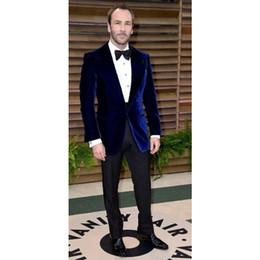 Royal Performance Suits Australia - 2019 Royal Blue Velour Slim Fit Men Suit Set Groom Tuxedos Velvet Coat Prom Wedding Performance Suits Costume Homme (Jacket+Pants)
