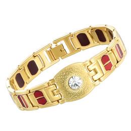 Enamel Chain Wholesale NZ - New Fashion Korean Style Copper Link Chain Crystal Bracelet for Women Gift Jewelry Gold Color Red Enamel Bracelet Accessories