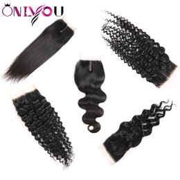mongolian body wave closure 2019 - Onlyou Hair® Human Hair Extensions Top Closures Straight Body Deep Water Wave Brazilian Virgin Hair 4*4 Middle Free Lace