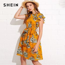eb57114fbb Beach Vacation Clothes Canada - SHEIN Flutter Sleeve Self Belted Floral  Dress 2018 Summer Butterfly Sleeve