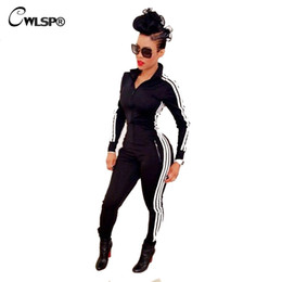 jumpsuits side zippers 2019 - CWLSP Fashion Casual Spring Side Striped Rompers Women Jumpsuit Tight Slim Zipper Fall Sleeve Overalls Tracksuit QL1870