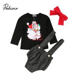 Santa Claus Baby Clothing Australia - 2018 NEW Toddler Baby Girl Christmas Clothing Set Santa Claus Head Tops Shirt Overall Belt Shorts XMAS Outfits 3pcs