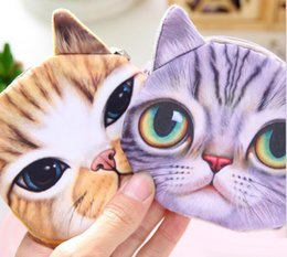 Face Coins NZ - Cat face Coin Purse Bag Wallet Girls Mini Clutch Purses Change Purse cartoon Money case