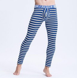 thin thermal underwear UK - Brand men thermal underwear men's long johns striped warm pants underwear men thin comfortable leggings size m l xl xxl