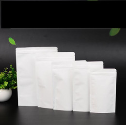 White lining paper online shopping - White Kraft paper bags food bags Aluminum foil lining packing bags stand up candy ziplock bag Storage Bag