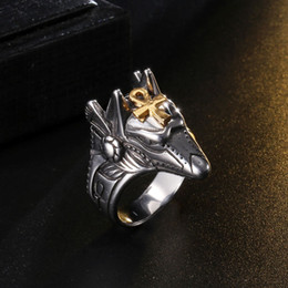 StainleSS Steel wolfS head ring online shopping - Fashion Men Ancient Egypt Anubis Ring Gold Color Men Retro Wolf Head Ankh Cross Stainless Steel Ring Punk Egypt Wolf Handsome Ring