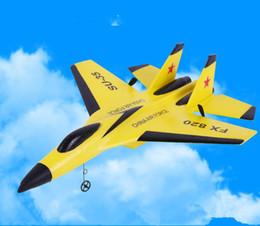 Avión de control remoto inalámbrico de espuma EVA, caza de juguete Su35 / F16, carga USB, avión de combate de juguete de ala fija para niños.