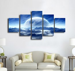 $enCountryForm.capitalKeyWord Australia - No Frame Fashion 5 Pieces Blue Cloudy Mountain Planet Painting Printed on Canvas for Home Decoration Cheap Wall Art Picture