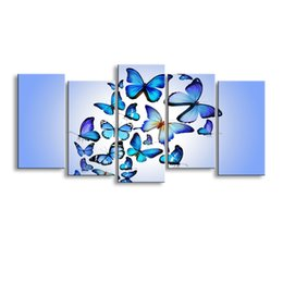 Butterfly Canvas Art UK - 5 pieces high-definition print butterfly canvas painting poster and wall art living room picture B-080