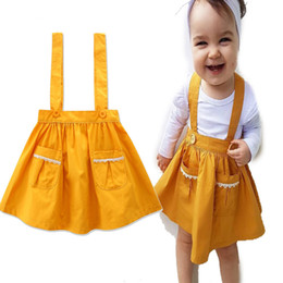 40aed862d94d2 Yellow suspender skirt online shopping - Girls Yellow Vest Dress with  Pockets Summer Skirt Cotton Toddles