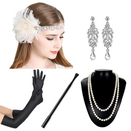 Discount great prom dresses - 1920s Flapper Dress Accessory Set 5pcs Women Great Gatsby Dress Costume Accessory Set Glove Feather Headband for Prom