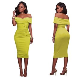 $enCountryForm.capitalKeyWord UK - European and American Standard Size Sexy Boobs Off Shoulder Dress Bodycon dress office formal cotton dress black white light green