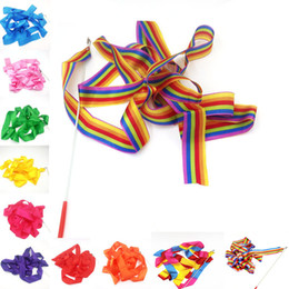 Dance gymnastic ribbon online shopping - 400cm Rainbow Dance Rhythm Ribbon Gym Gymnastics Art Ballet Ribbon Streamer with Twirling Rod Colors C5121