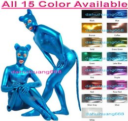 Sexy Bodysuit Halloween Costume NZ - Unisex Sexy Cat Bodysuit Costumes Outfit New 15 Color Shiny Metallic Catwoman Suit Catsuit Costumes Unisex Halloween Cosplay Costumes DH062