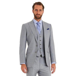 Gold Grey tuxedo online shopping - Light Grey Mens Suits Two Buttons Pieces Wedding Suits for Men Groom Suit Tuxedos Business Formal Suit Jacket Pants vest