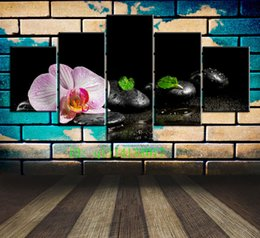 Leaf Oil Painting NZ - Green Leaves of Stone and Candle,5 Pieces Canvas Prints Wall Art Oil Painting Home Decor  (Unframed Framed)