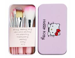 b07400181 Kit de cepillos de maquillaje Hello kitty 7pcs / set con caja de hierro  rosa electrodomésticos de belleza polvo sombra de ojos cepillo de maquillaje  caja ...