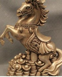 "chinese zodiac year statue UK - 12"" Chinese Fengshui Silver Zodiac Year Horse Money drawing Wealth Statue"