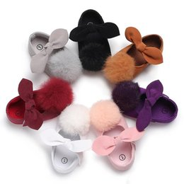 toddler black girls dress shoes Australia - Baby Girls big Plush Pompon bow princess shoes 7 solid colors cute infants soft sole first walkers 3 sizes toddlers princess dresses shoes