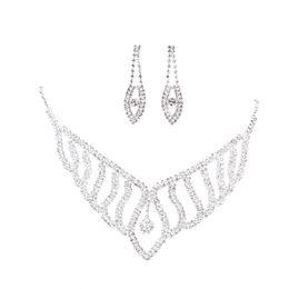 $enCountryForm.capitalKeyWord UK - 1 Pc Stylish New Occident Bride Rhinestone Jewelry Necklace Set Pendant Jewelry Set Wedding Accessories Model Accessories