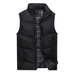 Wholesale mens padded vests resale online - Warm Mens Jacket Sleeveless Vest Winter Fashion Casual Coats Male Cotton Padded Men s Polyester Vest Men Thicken Waistcoat XL