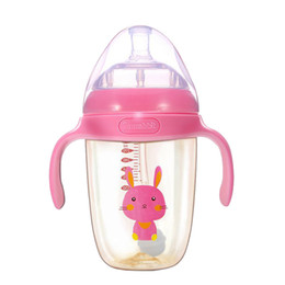 Wholesale 240ml ml kids gifts wide mouth temperature sensing PPSU infant milk bottles baby feeding bottle with handle and lids