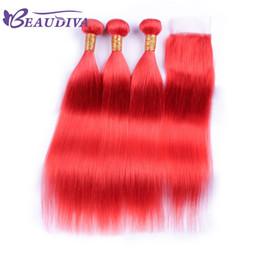 bleach hair dye 2018 - Beau Diva Pre Colored Hot Red Peruvian Human Hair Bundles With Closure Virgin Straight Hair Bundles With Closure Free Sh