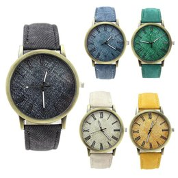 $enCountryForm.capitalKeyWord Australia - Wholesale- Simulation cowboy cloth Relojes Quartz women Men Watches canvas Color Leather Strap Wristwatch clocks Relogio asculino 456465