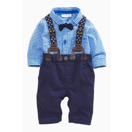 $enCountryForm.capitalKeyWord UK - 2018 New Arrival Boys Clothing Set Children Grid Shirt with Bow and Suspender Trousers Suit Fashion Kids 2-Piece Outfit