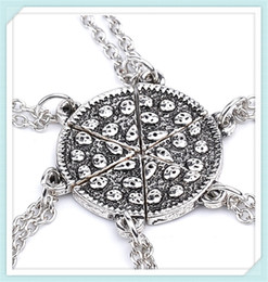 Chinese  Antique Silver Food Pizza Necklace Best friends Forever Fashion Jewelry Chains for women Friendship Christmas Gift drop shipping 161179 manufacturers