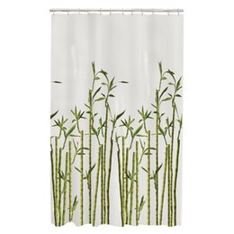Chinese  Memory Home Bamboo Photo Real Spa Bathroom Decor Special Collection Waterproof Fabric Shower Curtain Machine Washable White manufacturers