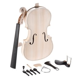 maple fingerboard UK - DIY 4 4 Full Size Natural Solid Wood Acoustic Violin Fiddle Kit with EQ Spruce Top Maple Back Neck Fingerboard Aluminum Alloy