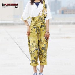 Harem Jumpsuits Women Australia - Original Order Plus Size Casual Loose Floral Print Cotton Overalls Women Romper Boyfriend Wide Leg Jumpsuit Harem Pants Trousers