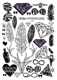 Discount diamond body tattoo - Rocooart A6080-201 Big Black tatuagem Taty Body Art Temporary Tattoo Stickers Feather Rainbow Diamond Glitter Tatoo Stic