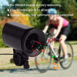 Wholesale 6 Sound Electronic Bike Bell Ring Siren Warning Horn Ultra Loud Voice Speaker Bicycle Accessory Black drop shipping