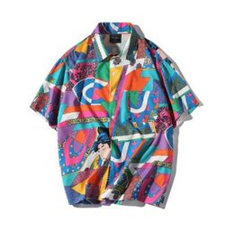 Venta al por mayor de AELFRIC Camisa de manga corta para hombre Hip Hop Japanese Streetwear Silk Ukiyoe Camisa informal 2018 Hombre Summer Fashion Camisa hawaiana HE01
