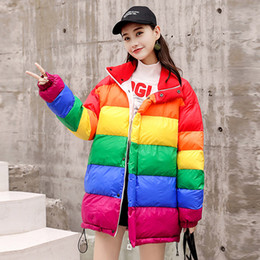 $enCountryForm.capitalKeyWord Australia - Winter Rainbow Striped Jacket Women 2018 Womens Parkas Thicken Outerwear Coats Short Female Slim Down Cotton padded basic tops