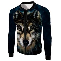 bbb4716903e Fashion Men Bomber Jacket Hip Hop Wolf head Designs Slim Fit Pilot Bomber Jacket  Coat Men Jackets Plus Size free shipping