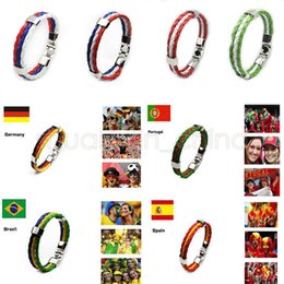 WM-Nationalflagge Leder geflochten Armband Sport Handgelenk Fans Cmmemorative Geschenk für Party Decora Mode-Accessoires GGA516 60PCS