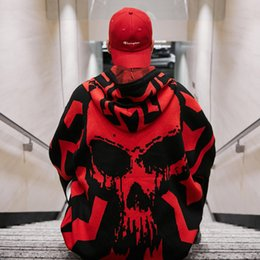 Wholesale knitted skull sweater for sale - Group buy Autumn winter men skulls oversized sweater punk hip hop pull homme women plus size pullover warm knitted sweaters korean clothes