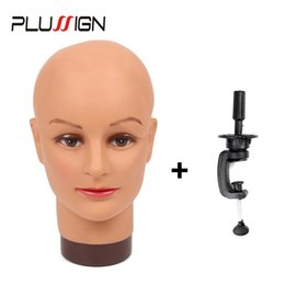 practice hair head 2018 - Plussign No Hair Bald Mannequin Head And Wig Stand Set For Wigs Making Display Makeup Practice And Training High Quality