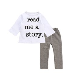 Story O Clothing Australia - Spring Autumn Baby Clothes Set Cotton Newborn Baby Boy Girl Outfits Set Read Me A Story Pring Long Lseeve Tops Grey Pants Suits