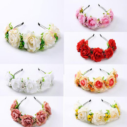 Discount hair decorations for brides - MOQ:5PCS Rose and Berry Flower Headbands Cloth Floral Hairband Hair Accessories For Women Bride Beach Weddign Hair Decor