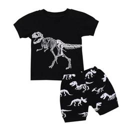 $enCountryForm.capitalKeyWord UK - Boys Dinosaur Bone Clothing Set Summer Casual Cotton T-shirt+Shorts Suits Outfits Clothes Sets Boys Pajamas For Children 24M-7T