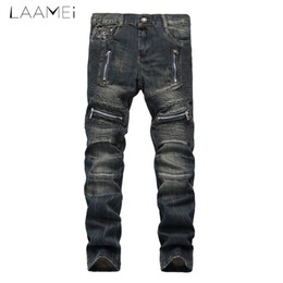 Chinese  Laamei male's Hole Motor Vehicle Fashion Straight Jeans Vintage Style Slim Lightweight Patchwork Pants Plus Size Trousers 2018 manufacturers