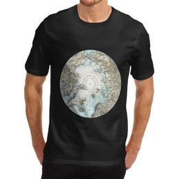 Cotton World Map Australia - Personalised T Shirts Men'S Design Crew Neck Short-Sleeve Cotton Novelty Atlas Theme North Pole World Map Print T Shirts