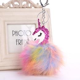 Free plush horse online shopping - Colorful Fur Unicorn Pendant Bag Charms Handbag Accessory Bag Charms Handbag Accessory Cute Horse Fur Keychain free ship OTH892