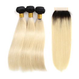 tone color 14 hair NZ - Ombre Closure With Bundles Straight Brazilian 1B 613 Blonde Two Tone Black Roots Human Hair 3 Bundles With 4*4 Free Part Lace Closure