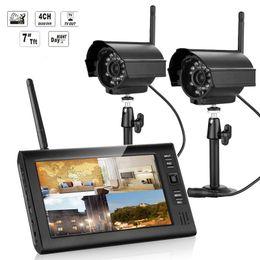 NEW 7-дюймовый монитор видеонаблюдения беспроводной комплект 2,4 4CH канала CCTV DVR 2PCS Беспроводные камеры Аудио ночного видения системы домашней безопасности на Распродаже